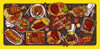Vector illustration, culinary banner, barbecue background with grilled meat, sausages, vegetables and sauces. Vector illustration, culinary banner, barbecue stock illustration