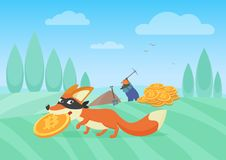 Vector illustration of cunning fox thief stealing bitcoin from hardworking miner. Bithoin money theft. Stock Photos