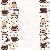 Vector illustration, a cup of cappuccino coffee, latte, espresso. With biscuits, coffee beans, baking for postcards, poster, poster, logo, business card, menu stock illustration