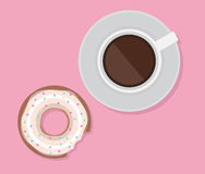 Vector illustration of cup of coffee and donut. Royalty Free Stock Images