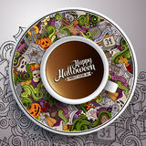 Vector illustration with a Cup of coffee Halloween. Vector illustration with a Cup of coffee and hand drawn Halloween doodles on a saucer and background stock illustration