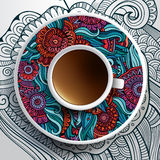 Vector illustration with a Cup of coffee Royalty Free Stock Photography