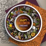 Cup of coffee and Halloween doodles Royalty Free Stock Images