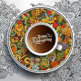 Vector illustration with a Cup of coffee and. Hand drawn Thanksgiving doodles on a saucer and background Royalty Free Stock Images