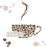 Vector illustration with a Cup of coffee and hand drawn watercolor Stock Photo