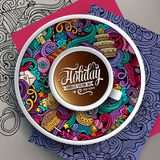 Vector illustration with a Cup of coffee and holidays doodles Royalty Free Stock Photography