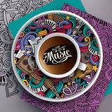 Vector illustration with a Cup of coffee and musical doodles Stock Image