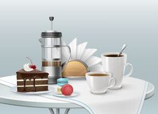 Dessert and coffee. Vector illustration of cup of coffee with piece of chocolate cake on a plate Stock Images