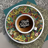 Vector illustration with a Cup of coffee and school doodles Royalty Free Stock Image