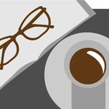 Vector illustration. Cup of coffee on the table. Flat design. Book and Glass. vector illustration