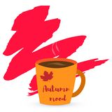Cup of coffee or tea and autumn leaves. Inscription autumn mood on a blot. Vector illustration. A cup of coffee or tea and autumn leaves. Inscription autumn mood vector illustration