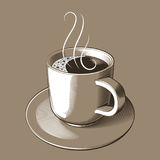 Vector illustration - a cup of hot coffee with foam and rising steam, on a saucer. On a light brown background vector illustration