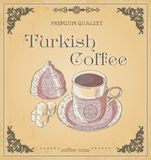 Vector illustration cup of turkish coffee and turkish delight. W Royalty Free Stock Photo