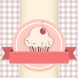 Vector illustration of cupcake. Birthday card with funny cupcake on ribbon stock illustration