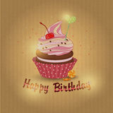 Vector illustration of cupcake birthday Royalty Free Stock Photography