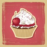 Vector illustration of cupcake with cherry Royalty Free Stock Image