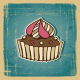 Vector illustration of cupcake with cherry Royalty Free Stock Photo