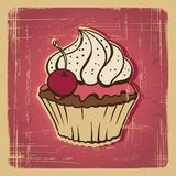Vector illustration of cupcake with cherry Stock Images