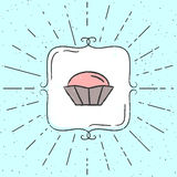 Vector Illustration of cupcake. Hand drawn hipster poster with sunbursts and vintage frame. Royalty Free Stock Photo
