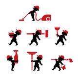 Cupid  cleaning staff with tools in flat design. Vector illustration of cupido cleaning staff with tools. Icons set of cleaner professional masters with rags Stock Photography
