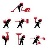 Cupid  cleaning staff with tools in flat design. Vector illustration of cupido cleaning staff with tools. Icons set of cleaner professional masters with rags Royalty Free Stock Photo