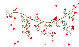Vector illustration of curl abstract Valentine tree branch with red hearts. Stock Photo