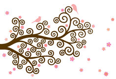 Vector illustration of curly blossom, colorful tree branch and two birds. On white background Stock Images