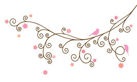 Vector illustration of curly blossom tree branch and two birds Royalty Free Stock Photography