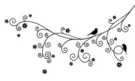 Vector illustration of curly blossom tree branch and two birds on white background. Royalty Free Stock Images