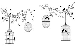 Vector illustration of curly blossom tree branches with hanging bird cages, wild and domestic birds. In black color stock illustration
