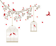 Vector illustration of curly blossom tree branches with hanging cages, wild and domestic birds, hearts. Stock Images