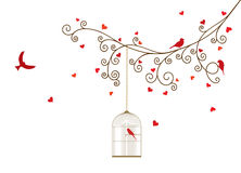 Vector illustration of curly blossom tree branches with hanging cages. Wild and domestic birds, hearts. White background Royalty Free Illustration