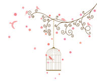 Vector illustration of curly blossom tree branches with hanging cages, wild and domestic birds. Wall sticker vector illustration