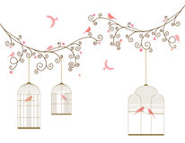 Vector illustration of curly blossom tree branches with hanging cages, wild and domestic birds. Royalty Free Stock Photos