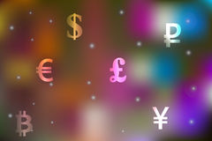 Vector illustration of a currency exchange concept with dollar, yen, pound, ruble, euro symbols on a festive motley background Royalty Free Stock Photography