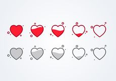 Vector illustration customer review feedback 5 Hearts rating or ranking concept. From Full to empty stock illustration
