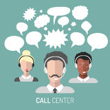 Vector illustration of customer service, call center operator icons with headsets with blank speech bubbles. Vector illustration of customer service, call Royalty Free Stock Photography