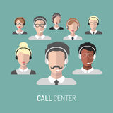 Vector illustration of customer service, call center operators icons with headsets. Vector illustration of customer service, call center operators icons with Stock Photography