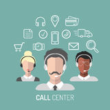 Vector illustration of customer service, call center operators icons with headsets. Vector illustration of customer service, call center operators icons with Royalty Free Stock Images