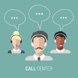 Vector illustration of customer service, call center operators icons with headsets. Vector illustration of customer service, call center operators icons with Royalty Free Stock Photo