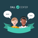 Vector illustration of customer service, call center operators icons with headsets. Vector illustration of customer service, call center operators icons with Royalty Free Stock Photos