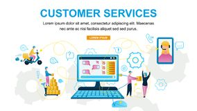 Vector Illustration Customer Service Online Store. Horizontal Banner Image Monitor Computer Web Site. Girl Telephone Consultation, Man Delivers Customer, Order vector illustration