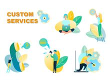 Vector Illustration Customer Service Online Store. Telephone Operator Online Shopping Store. Department Technical Support Client. Buying Goods Online Using stock illustration