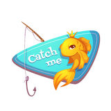 Vector illustration of cut gold fish with fishing. Rod Royalty Free Stock Photo