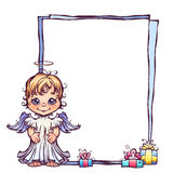 Vector illustration of cute angel with frame Stock Photo
