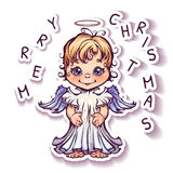 Vector illustration of cute angel with Merry Royalty Free Stock Images