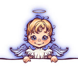 Vector illustration of cute angel with panel for. Text Royalty Free Stock Photos