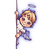 Vector illustration of cute angel with panel for. Text Stock Images