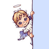 Vector illustration of cute angel with panel for Stock Image