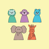 Vector illustration of cute animal including giraffe, monkey, lion, bear, elephant Royalty Free Stock Image